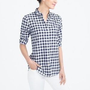 J. Crew The Perfect Shirt in Blue & White Gingham